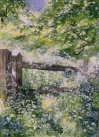 Gate to the Woods - watercolour by Dorothy Pavey